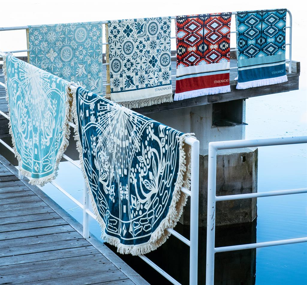 Maya towel blue and aqua Mosaique towel- and blue and Tulum towel red and blu